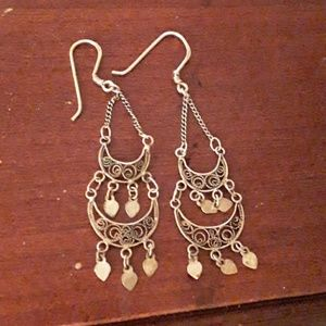 sterling filagree vintage earrings